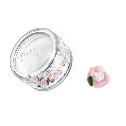 ruNail, дизайн для ногтей: пластиковые цветы 0346 (чайная роза, бледно-розовый), 10 штук