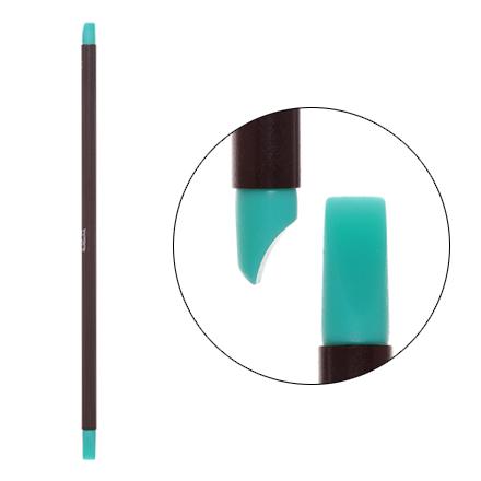 Irisk, Кисть силиконовая с тонкой ручкой Nail Sculptor, вогнутая лопатка/прямая, бирюзовая