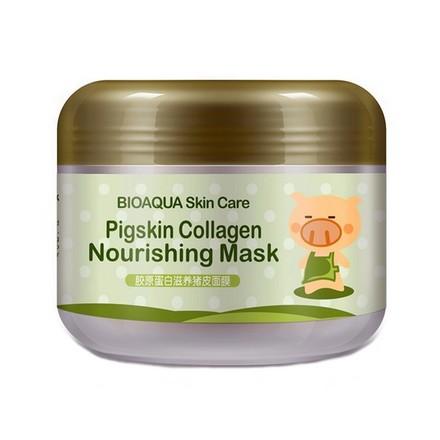 Фото - Bioaqua, Ночная маска Pigskin Collagen, 100 г bioaqua питательная коллагеновая маска pigskin collagen с кислородом 100 г
