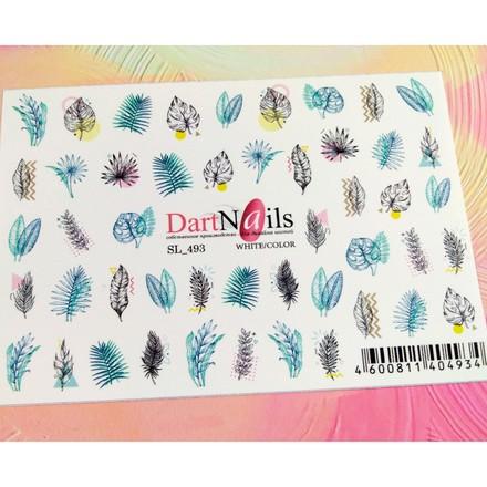 Купить DartNails, Слайдер-дизайн Art-Fashion «Листья и перья» №493