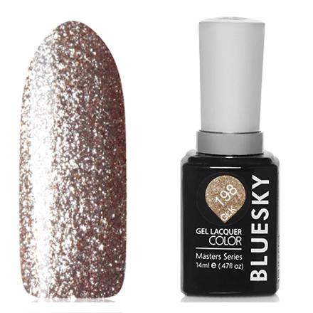 Bluesky, Гель-лак Masters Series «Звездное небо» №198Bluesky Шеллак<br>Гель-лак (14 мл) на прозрачной подложке золотистого цвета, с микроблестками, плотный.