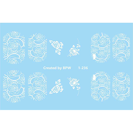 BPW.Style, Слайдер-дизайн «Белые розы» №1-236Слайдер-дизайн<br>Слайдер для создания дизайна на ногтях.