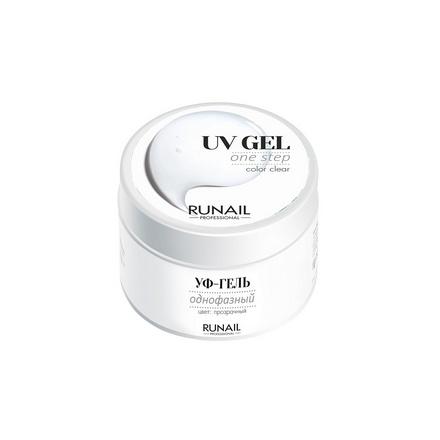 ruNail, Однофазный UV-гель, прозрачный, 15 г runail базовый uv гель 15 г