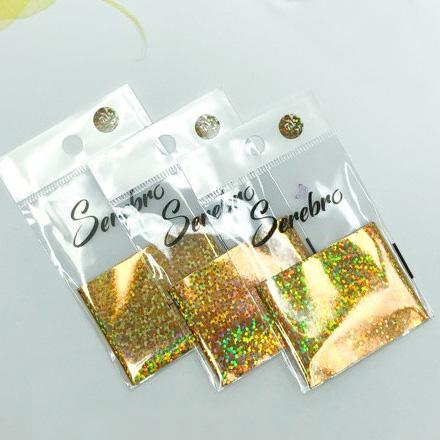 Купить Serebro, Фольга для дизайна ногтей №71, золотые пайетки