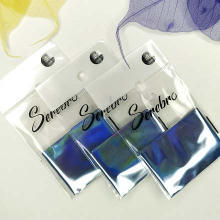 Купить Serebro, Фольга для дизайна ногтей №36, голубой, глянц
