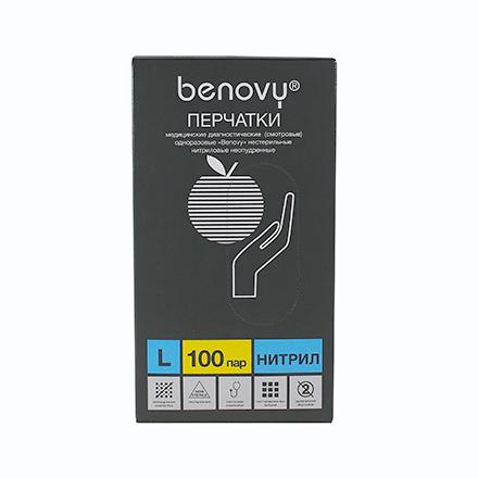 Купить Benovy, Перчатки нитриловые голубые, размер L, 200 шт.