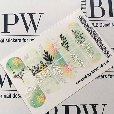BPW.Style, Слайдер-дизайн 3D «Веточки на зеленом фоне» №3d-144Слайдер-дизайн<br>Слайдер для создания дизайна на ногтях.