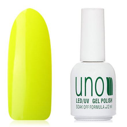 UNO, Гель-лак №348 Желтый неон, Yellow neon europa uno trade шар 12 неон ассорти 100шт 1101 0005