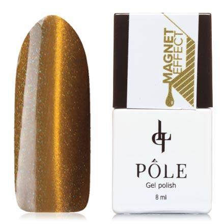 POLE, Гель-лак №14, Золотой песокPOLE<br>Магнитный гель-лак (8 мл) оливковый, с голубыми и золотыми микроблестками, плотный.