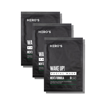 HERO'S, Детокс-маска для лица Men's Formula, 3х20 г  - Купить