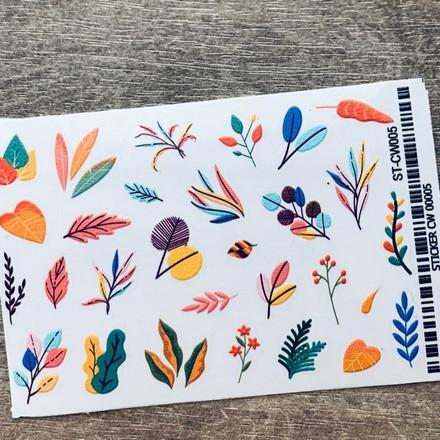 Купить Anna Tkacheva, Стикер ST-CW №005 «Веточки. Листья»
