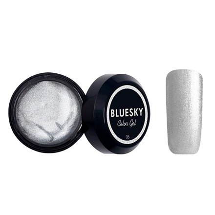 Bluesky, Гель-краска Color gel №06, серебрянаяГель-краски Bluesky<br>Краска для дизайна ногтей без липкого слоя (8 мл).