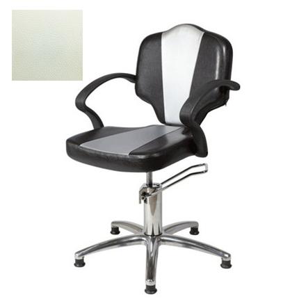 Купить Мэдисон, Кресло парикмахерское «Мона модерн» гидравлическое, хромированное, белое