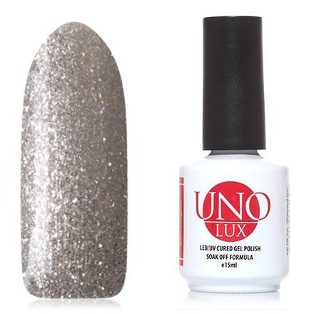 UNO LUX, Гель-лак Горный хрусталь, Rock crystalUNO LUX<br>Гель-лак (15 мл) на прозрачной подложке, с серебристыми мелкими блестками, плотный.