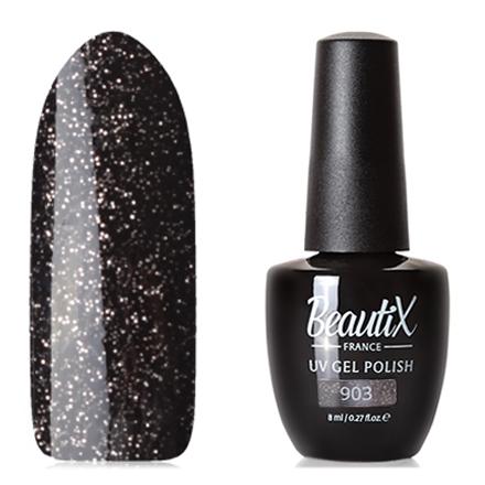 Beautix, Гель-лак №903Beautix<br>Гель-лак (8 мл) черный, с золотистыми мелкими блестками, плотный.<br><br>Цвет: Черный<br>Объем мл: 8.00