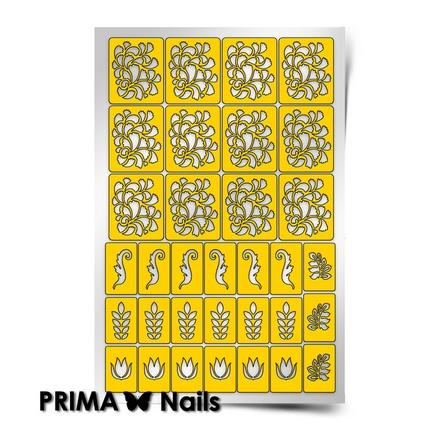 Prima Nails, Трафарет для дизайна ногтей, Растительный узор - 2