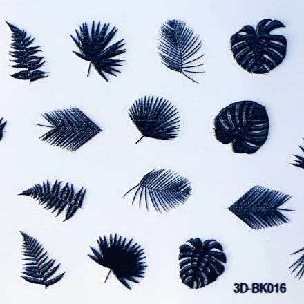 Купить Anna Tkacheva, 3D-стикер №016 «Листья. Веточки», черный