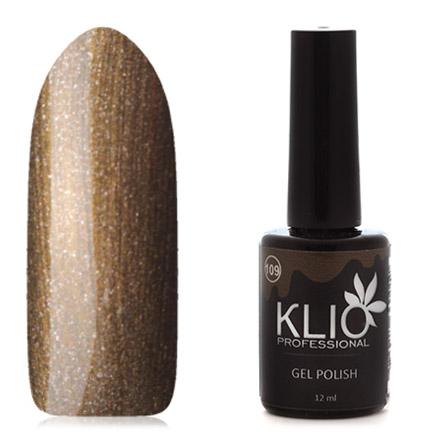 Klio Professional, Гель-лак №109Klio Professional<br>Гель-лак (12 мл) золотисто-оливковый, с перламутром и микроблестками, плотный.<br><br>Цвет: Коричневый<br>Объем мл: 12.00