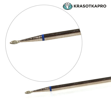 KrasotkaPro, Фреза алмазная «Почка» D=1,4 мм L=3 мм, синяя фото