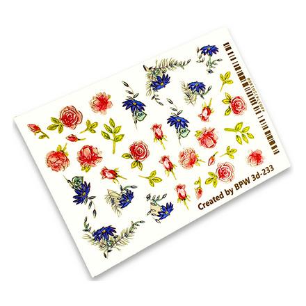 Купить BPW.style, 3D-слайдер «Розовые и голубые цветы» №3d-233