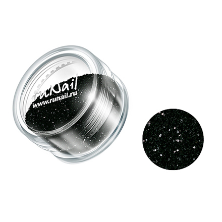 ruNail, дизайн для ногтей: блестки 0294 (черный) от KRASOTKAPRO.RU