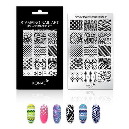 Konad, Пластина для стемпинга Square Image Plate № 14Пластины для стемпинга<br>Изображение, с помощью которого вы сможете создать великолепные рисунки на ногтях, которые очень сложно создать вручную.<br>