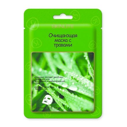 Skinlite, Маска очищающая с травами, 1 штМаски<br>Тканевая маска с экстактами цветка жимолости, лакричника, семени лунной фасоли и грибов пория. Для жирной и комбинированной кожи