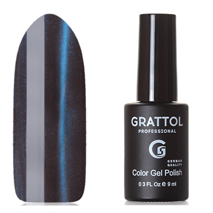 Grattol, Гель-лак Crystal №004, BlueGrattol<br>Магнитный гель-лак (9 мл) на серо-коричневой подложке, с ярко-синими микроблестками, полупрозрачный.