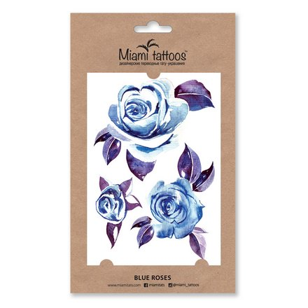 Miami Tattoos, Переводные татуировки Blue Roses flash tattoos sheebani authentic metallic temporary tattoos