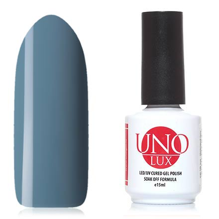 UNO LUX, Гель-лак Туманный Альбион, Foggy AlbionUNO LUX<br>Гель-лак (15 мл) серо-голубой, без перламутра и блесток, плотный.