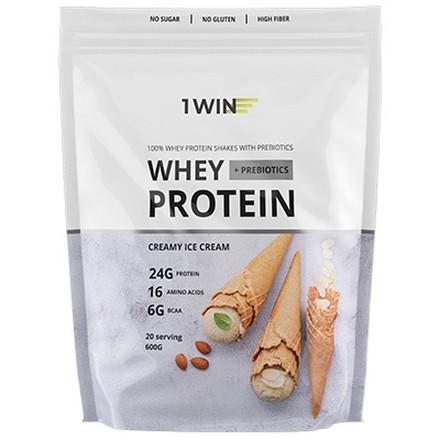 1WIN, Протеин с пребиотиком Whey «Сливочное мороженое», 600 г