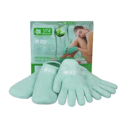 Spa Belle, Увлажняющие гелевые перчатки и носки, цвет зеленый с алоэ (комплект)