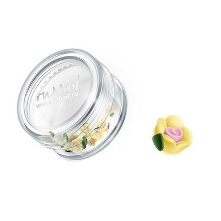 ruNail, дизайн для ногтей: пластиковые цветы 0350 (чайная роза, желтый), 10 штук