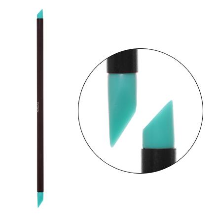 Irisk, Кисть силиконовая с тонкой ручкой Nail Sculptor, скошенный овал/скошенное перо, бирюзовая