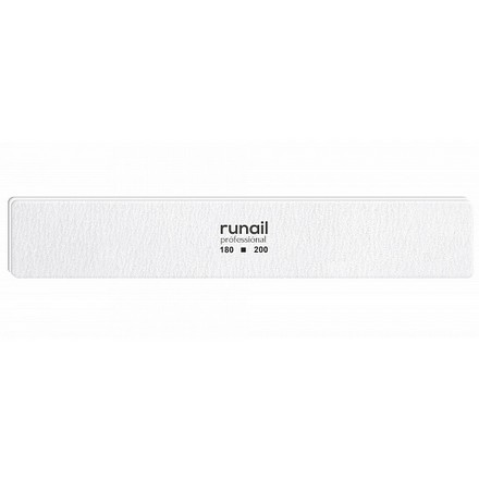 Купить RuNail, Пилка для искусственных ногтей, белая, прямая, 180/200