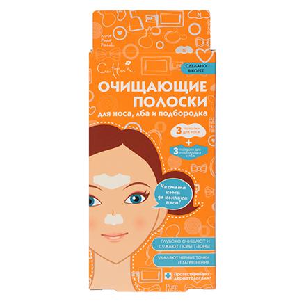 Купить Cettua, Очищающие полоски для носа, лба и подбородка, 6 шт.