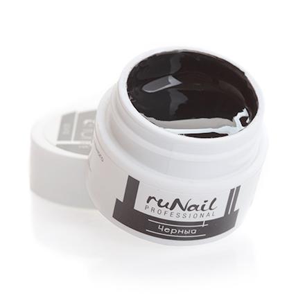 ruNail, УФ-гель цветной (Черный, Black), 7,5 г runail однофазный uv гель белый 15 г