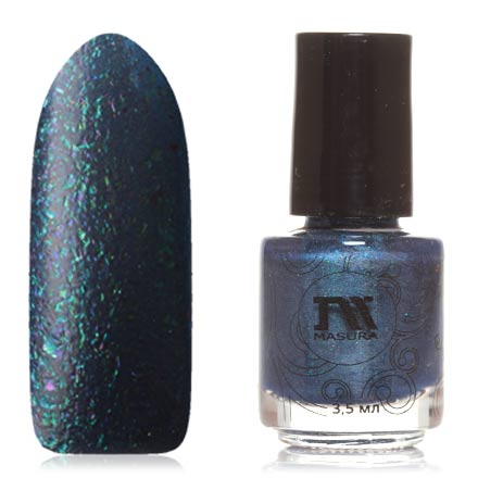 Masura, Лак для ногтей №904-235M, Озеро горных эльфовМагнитные лаки Masura<br>Магнитный лак (3,5 мл) темно-синий, с перламутром и разноцветной фольгой голографик, плотный.<br><br>Цвет: Синий<br>Объем мл: 3.50