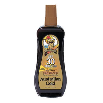 Купить Australian Gold, Спрей-гель для загара SPF 30, с бронзатором, 237 мл