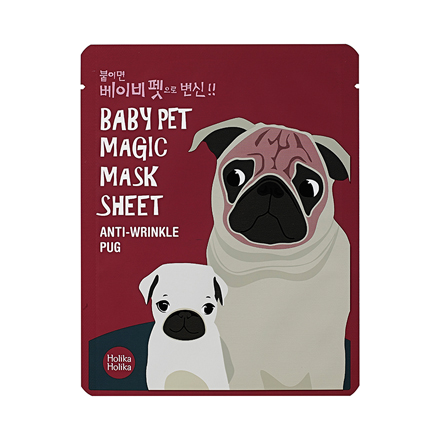 Holika Holika, Маска-мордочка против морщинок Baby Pet Magic Mask Sheet, Мопс маска holika holika honey sleeping pack blueberry 90 мл