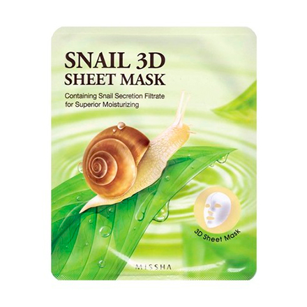 Missha, Тканевая маска для лица Healing Snail 3D, 21 г missha тканевая маска для лица healing snail 3d 21 г