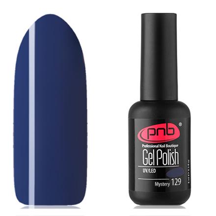 PNB, Гель-лак №129, MysteryPNB<br>Гель-лак (8 мл) глубокий синий, без перламутра и блесток, плотный.