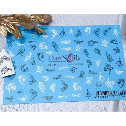 DartNails, Слайдер-дизайн Art-Fashion «Листики цветков» №311  - Купить