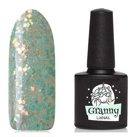 Lianail, Гель-лак Unicorn, GrannyLianail<br>Гель-лак (10 мл) на прозрачной подложке зеленого цвета,  с голографическими блестками и микроблестками, полупрозрачный.