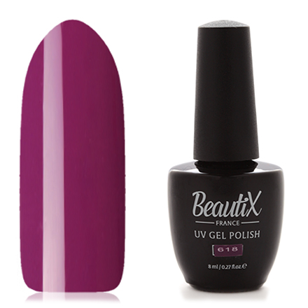 Beautix, Гель-лак №618Beautix<br>Гель-лак (8 мл) пурпурно-фиолетовый, без перламутра и блесток, плотный.