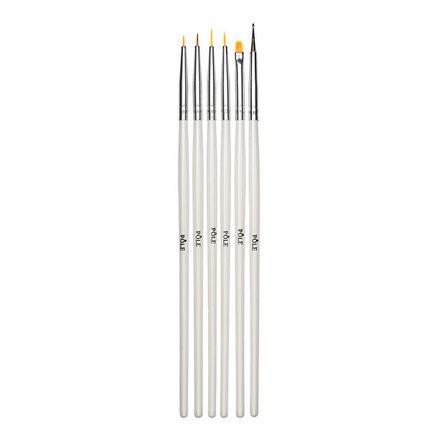Pole, Набор кистей для дизайна, 6 шт.Кисти для дизайна<br>Универсальный набор синтетических кистей для нейл-арта.