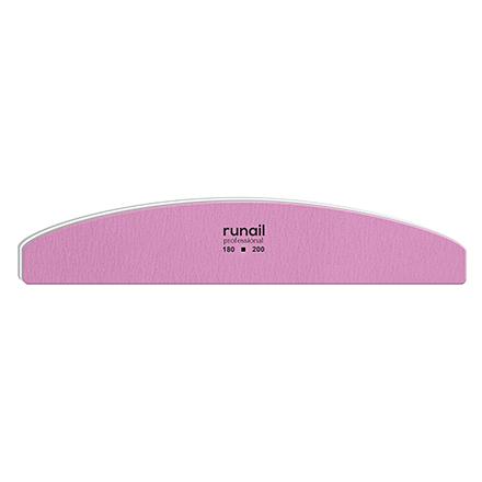 Купить RuNail, Пилка для искусственных ногтей, розовая, полукруглая, 180/200