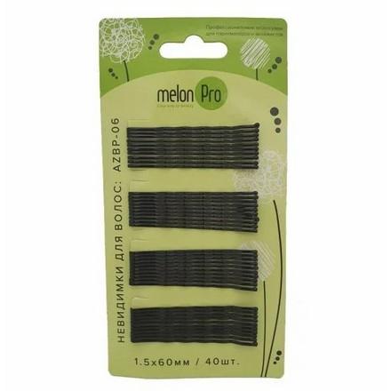 Купить Melon Pro, Невидимки «Волна», черные, 60 мм, 40 шт.