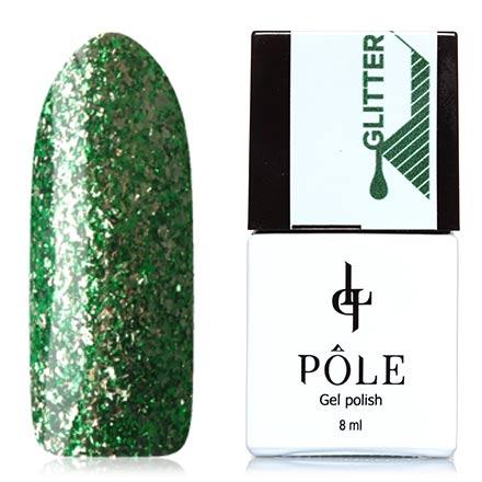 POLE, Гель-лак №36, Тропический взрывPOLE<br>Гель-лак (8 мл) насыщенный зеленый, с серебристой фольгой, плотный.<br><br>Цвет: Зеленый<br>Объем мл: 8.00