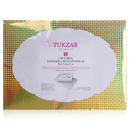 Коробка подарочная складная с прозрачным окном Золотая, 38*27,6*6,2 см